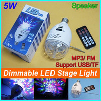 Wholesale Magic Card Lamp - Wholesale-LED Crystal Magic Ball bulb 5W LED Stage Light Ball Effect Light + MP3 Speaker FM Radio Support USB TF card Music Play LED lamp