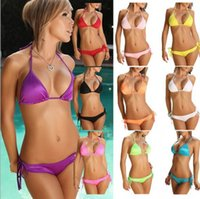 Wholesale Cheap Women S Bikinis - Cheap Promotions !! Sexy Women Halter Bikinis Set Bikini Swimwear Ladies Beach Wear Swimsuit Hot Spring Bathing Suit