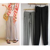 Wholesale Cargo Pants Style Women - 2015 Summer Style Casual Elastic Waist Women Pants Solid Color Drawstring Full Length Plus Size Lycra Harem Pants for Sport