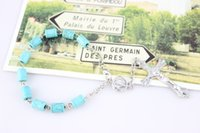 Wholesale Turquoise Religious Jewelry - European Fashion Religious Jewelry Accessories 6*8 mm Turquoise Rosary Bracelets Metal Cross Rosary New Arrived Wholesale