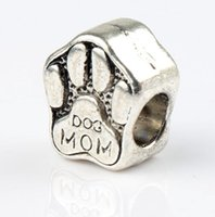 Wholesale Wholesale Tibetan Silver Dog Charms - Dog Mom Foot Print Metal Big Hole Beads 100pcs lot 10x11.2x7 mm Tibetan Silver Fit European Charm Bracelet L1306