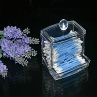 Wholesale Clear Cosmetic Makeup Organizer Box - women Storage Box Clear Acrylic Q-tip Holder Box Cotton Swabs Stick Storage Cosmetic Makeup organizer powder box