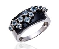 Wholesale Solid Agate Band Ring - Wholesale-Black Agate & Aquamarine Solid 925 Sterling Silver Jewelry Womens Fine Rings