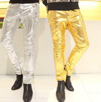 Wholesale Leather Pant Men Fashion - Mens Skinny Faux PU Leather Pants Shiny Silver Black and Gold Pants Trousers Nightclub Stage Costumes for Singers Dancer Male