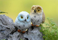 animais de jardim de resina venda por atacado-Micro Mini Jardim De Fadas Miniaturas Estatuetas De Resina Coruja Aves Figura Animal Brinquedos Decoração de Casa Ornamento Frete Grátis
