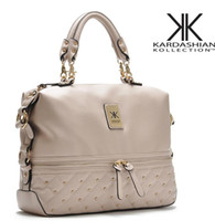 Wholesale kim kardashian bags - Wholesale-Kim kardashian kollection kk shoulder bag designer brand bag 2015 handbags women rivet fashion bucket gold chain messenger bags