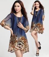 vestido de leopardo xxl al por mayor-Verano más tamaño suelta de manga larga de gasa con fondo sexy vestido de club con estampado de leopardo! XL, XXL, XXXL WG1576