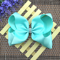 Wholesale Holiday Boutique Hair Bows - 24pcs 8 Inch Jojo Bows Solid Color Rhinestone Jojo Siwa Style Hair Bows For Children Boutique Hair Accessories Holiday Edition Large Bows