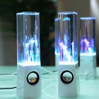 Wholesale water speakers dhl for sale - Group buy Surround Dancing Water Speaker Double Horn LED Light USB Music Speakers With Gift Box Black White DHL Free MIS105
