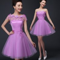 Wholesale Sweetheart Flowers - Exquisite A-line Princess Sweetheart Applique Short Mini Cocktail Prom Dresses Hand Made Flowers Special Occasion Prom Party Dresses