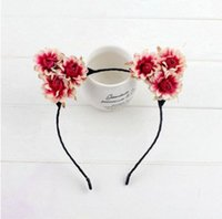 Wholesale Pink Cat Ears Cosplay - Girls cosplay cat ears hair sticks boutique children stereo flowers hairbands christmas party headdress girls princess accessories R1658