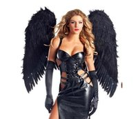 Wholesale Wings For Adult Costume - Wholesale-disfraces sexy halloween costumes for women black Long skirt adult maxiskit dark black angel with wings vampire witch costume