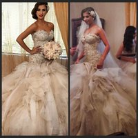 Wholesale Elegant Wedding Dress Train Cathedral - Vestidos Luxury Bridal Gowns Gorgeous Cathedral Wedding Dresses Elegant Vestido De Noiva Sereia Mermaid Plus Size Gowns