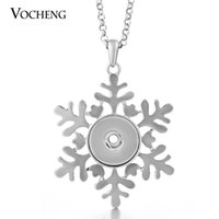 Wholesale Snowflake Buttons - NOOSA Snap Button Jewelry Snowflake Necklace 18mm Metal Christmas Gift Pendant Necklacewith Stainless Steel Chain VOCHENG NN-271