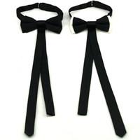 polyester şerit beyaz toptan satış-Şerit ilmek trendy kravat kravat erkekler için kravat polyester kelebek kelebek yetişkin erkek papyon siyah beyaz