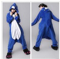 Wholesale Shark Onesie Pajamas - Hot Sale Lovely Cheap Blue Shark Kigurumi Pajamas Anime Pyjamas Cosplay Costume Adult Unisex Onesie Dress Sleepwear Halloween S M L XL