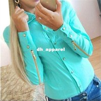 Wholesale ladies body suits - Solid Women Blouses Long Sleeves Fashion Lady Blouse With Zipper OL Shirt Women Body Suit Shirt Free Shipping