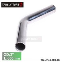 "Wholesale 45 Degree Intake Tube - Tansky 2pcs unit 76mm 3"" 45 Degree Aluminum Turbo Intercooler Pipe Tube piping Length 600 mm TK-UP45-600-76"