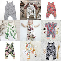 Wholesale Metallic Boy Shorts Wholesale - INS Baby Boys Girls Summer Clothing Sets Kids Printed Floral Sleeveless Animal Short Sleeve Heart Flowers Jumpsuits