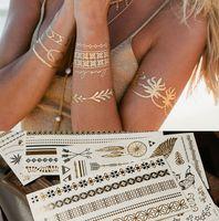 tatuagem de moda temporária impermeável venda por atacado-Moda Ouro Prata Metal Flash Do Tatuagem Metálico Etiqueta Do Tatuagem Temporária Body Art homem mulheres Praia Tatuagens À Prova D 'Água Tamanho 15X21 cm