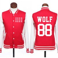 Wholesale Exo Wolf 88 - Wholesale- Kpop exo wolf 88 single breasted baseball jacket fashion black red preppy style hoodie outwear plus size sudaderas for autumn