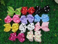 "Wholesale Ribbon Hairclips - 50pcs lot, 4.3""-4.5''baby ribbon polka dot bows with clip,grosgrain hairclips,Bow Dots"