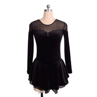Wholesale red skating dresses resale online - Full Sleeve Black Skating On Ice Training Dress Collection Beaded Professional Design Competition Dress Price