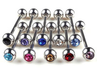 Wholesale Tongue Rings Balls - 10pc Lots Mixed Ball Tongue Lip Bars Nose Ring Barbell Body Piercing Stainless Steel NA479