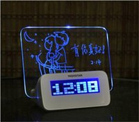 Wholesale Message Board Alarm Clock Calendar - Hot sale LED Luminous Luminova Message Board Digital kids Alarm Clock With Calendar LED Clock Chrismas gift for child
