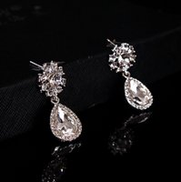 Wholesale Crystal Earrings For Sale - 2017 In Stock Crystal Bridal Earrings Jewelry Silver Color New Fashion Shiny Accessories For Wedding Brides Free Shipping On Sale Factory