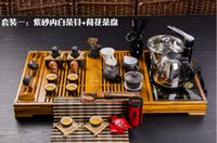 Wholesale Induction Cooker Set - Wholesale-Tea set four in one induction cooker purple ceramic kung fu tea set one piece solid wood tea tray