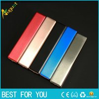 Wholesale portable usb electronic rechargeable for sale - Group buy Portable mini safe USB rechargeable electronic cigarette lighter Pure color strip metal lighters can replace the heating wire