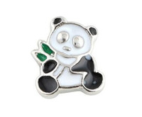 Wholesale Silver Panda Wholesale - 20PCS lot Panda DIY Alloy Floating Locket Charms Fit For Glass Living Magnetic Memory Locket Fashion Jewelrys