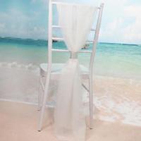 weißer organza stuhl verbeugt sich großhandel-White Slub Stuhl Schärpen mit Reihen Diamant Chiffon Delicate Hochzeitsfest Bankett Dekorationen Stuhlhussen Zubehör Kostenloser Versand