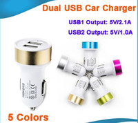 fosco Micro Auto de metal Dual USB carregador de carro para iPhone ar iPad 6 samsung S6 nota 5 5V 2.1A Mini Adapter