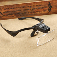 Wholesale Magnifier Eye Glasses Magnifying Lens - Wholesale-Magnifying Glass Eye Repair Magnifier LED Light Tools 1.0X 1.5X 2.0X 2.5X 3.5X Magnification Glasses Lupa Optical Lenses 9892B