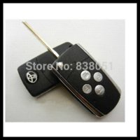 Wholesale Toyota Folding Car Key Blanks - Free shipping for 4 Buttons blank Remote FLIP Folding Key Shell for Toyota Camry s130 car