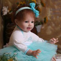 Wholesale Tutu Fashion China - Green tutu dress Dolls Reborn Lifelike Baby Doll 22 inch 1.6 kg Baby Simulation Toys gift for kids D71