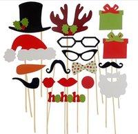 усы свадебных вечеринок оптовых-17pcs Photo Booth Props усы губ палку свадьба с Рождеством Новый год JIA445