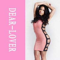 Wholesale Cheap Ballroom Dance Dresses - Cheap Sexy Hollow Out Pink Sexy Provocative Strappy Cut out Bodycon Dress LC21132 Tight stretch Novelty Dresses ballroom dancing FG1511