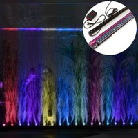 Wholesale Aquarium Corals - Underwater RGB Led Light 45cm 18LED Colorful Air Bubble Aquarium Light Fish Tank Coral Lamp Tube aquarium led 220V EU US plug