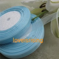 Wholesale Organza Ribbon Favor - SALE! 100 Yards (300 ft) 3 8'' (10mm) Double Face Ivory Sheer Organza Ribbon Wedding Party Favor Decor Christmas decoration 84colors