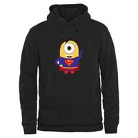 ingrosso minion nero-Felpe da uomo di spedizione gratuita Uomo Minion Superman Super Hero Divertente Cartoon Hoodie Black Performance Pullover Hoodie Mix Order