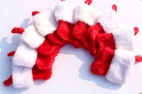 Wholesale Medium White Gift Bags - 100pcs lots Wholesale Plush Red Christmas Stocking Kit With White Fur Trim as candy gift bag for children Free Shipping