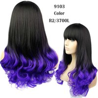 Wholesale Hot Sexy Ladys - 2015 Hot Selling Promotion Free Shipping Ladys gradient color Long Sexy Full Wavy Hair Wigs With Long Side Bangs Cheap Synthetic Hair
