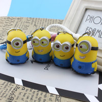 Wholesale Despicable Minion Glasses - Free Shipping Movie Cartoon Despicable Me Key Chain Ring Holder Cute Small Minions Figure Keychain Keyring Pendant