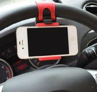 bisikletli araba monte etmek toptan satış-Evrensel Araba Streeling Direksiyon Cradle Tutucu AKıLLı Klip Araba Bisiklet Dağı Cep iphone samsung Cep Telefonu için GPS Noel Hediyesi US07