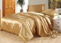 seidensteppdecke großhandel-7pcs Luxus Kamel Solarium Seide Bettwäsche Satin Blätter Super König Königin voller Twin Size Bettbezug Bettlaken ausgestattet Bett in einer Tasche Quilt