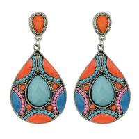 Wholesale Enamel Flower Drop Earrings - Brincos Long Brinco Leque Blue Green Enamel With Created Gemstone Big Boho Drop Earring For Women