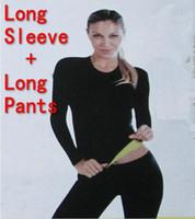 Wholesale Sleeve Shirt Body Shaper - (Long Sleeve T-shirt + Long Pants) Hot Body Shapers T-shirt Control Tops + Stretch Neoprene Slimming Vest Body Shaper Pants